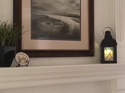 luminara candle on mantle