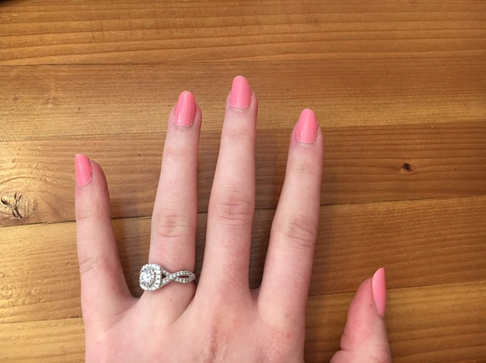 hand with fingernails painted with zoya