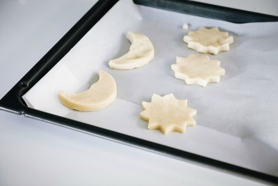 Shortbread cookies on cookie sheet with parchment paper