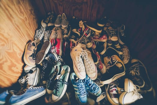 Pile of converse shoes