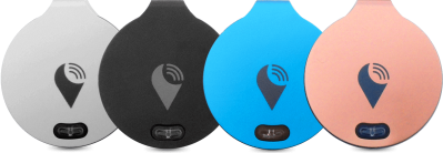 The trackr device in 4 colors