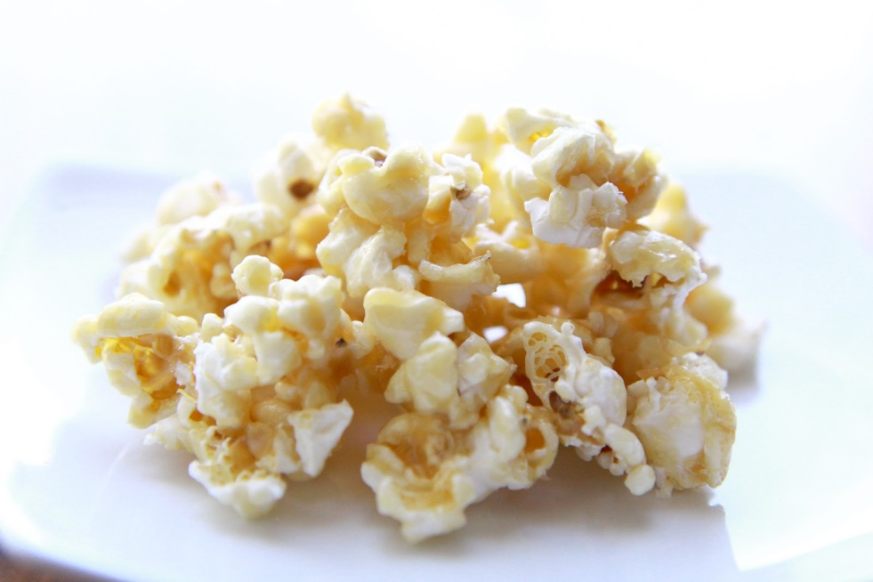 carmel popcorn on white background